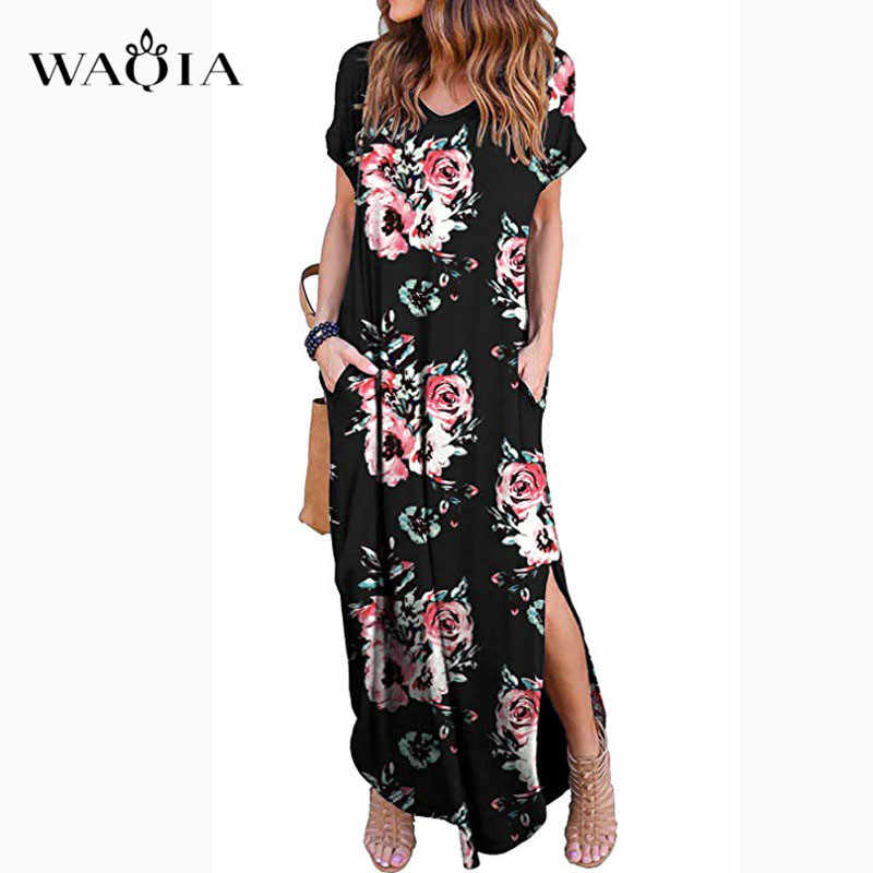 WAQIA 2019 Women Summer Dress Floral Print Short Sleeve Casual Long Dress Party Dresses Female O-Neck Loose Maxi Dress Vestidos
