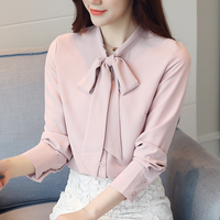 New Womens Tops Fashion Women Spring Summer Chiffon Blouse Bow Long Short Sleeve Casual Shirt White Pink