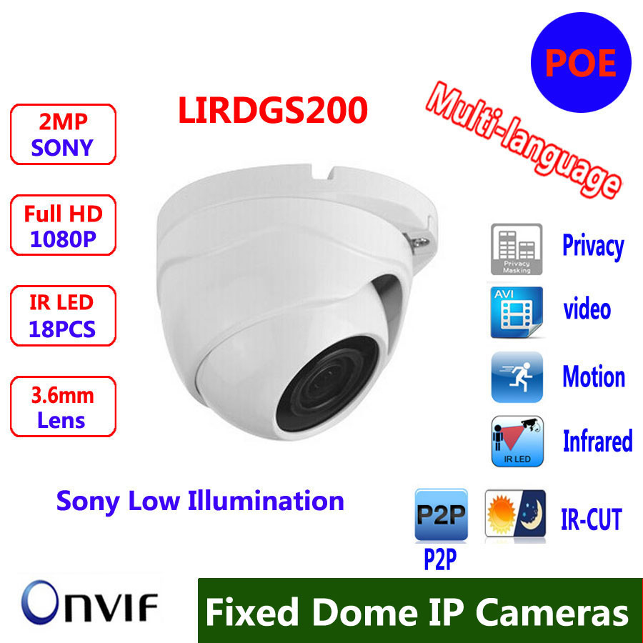 Wide Angle 2.8mm/3.6mm Lens ONVIF P2P Security IP Camera 1080P  Indoor Dome Camera IP 2MP Surveillance CCTV