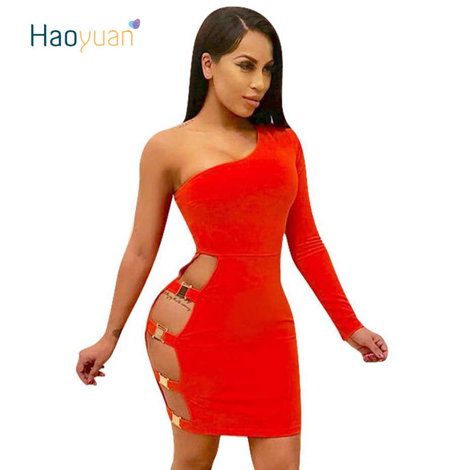 b2c405ed7e8 ... HAOYUAN One Shoulder Sexy Dress Women Summer New Vestido Long Sleeve  Hollow Out Bodycon Dresses Package ...
