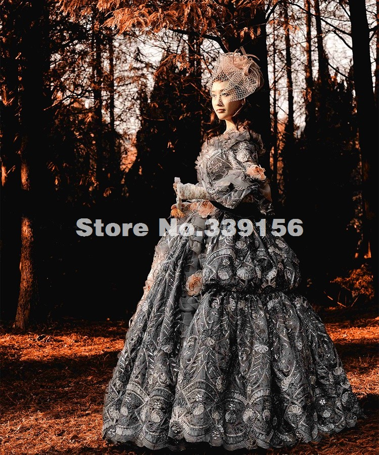 High-grade Vintage Grey 18th Century Rococo Baroque Marie Antoinette Medieval Renaissance Period Ball Gowns Historical Dress Women's Clothing