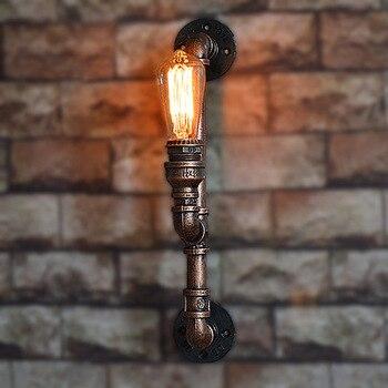 Retro Endüstriyel rüzgar Basit Yaratıcı Moda Duvar Lambaları Loft Retro Modern Demir Işıkları LED Ampul Modern Balkon Bedro Ev Işık