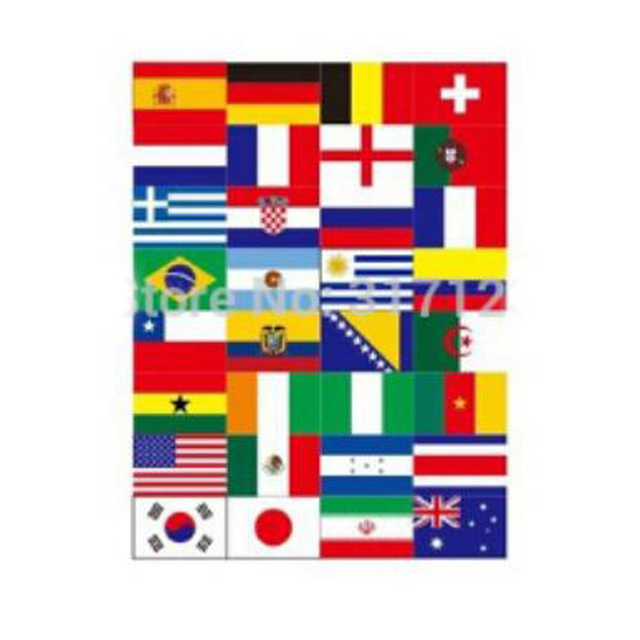 (50 sets /lot ) Wholesale 32 country National flag stickers for wall  suitcase face