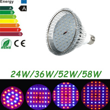 6W/24W/36W/52W/58W newest hydroponics Led grow  Lighting AC85-265V  E27 RED/BLUE  Hydroponic LED Plant Grow Lights