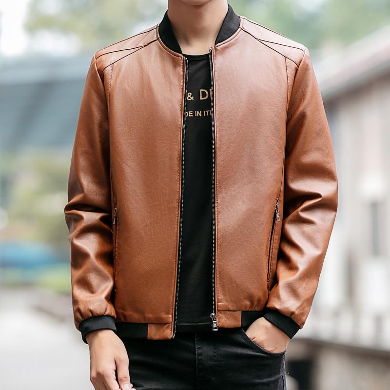 Vintage Jacket Men Faux Leather Slim Fit Bomber Jackets Coats Spliced Zipper Pocket Solid Mens Clothes Casual Windbreaker Male