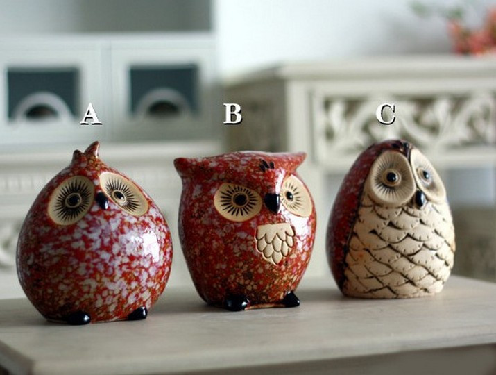home decor ceramic owl modern fashion owl crafts home decoration owl money box money bank crafts price is for 3pcs - Owl Home Decor
