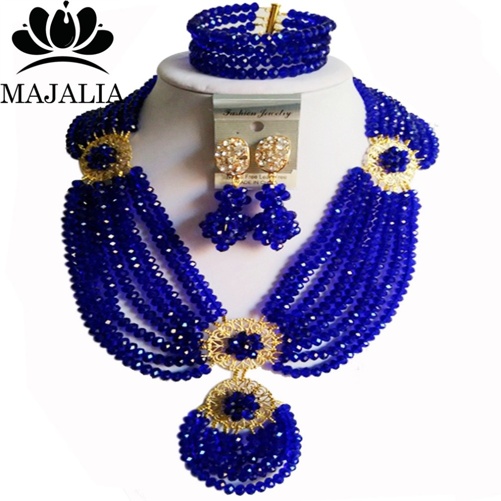 Trendy Nigeria Wedding Royal Blue african beads jewelry set crystal necklace bracelet earrings Free shipping Majalia-006Trendy Nigeria Wedding Royal Blue african beads jewelry set crystal necklace bracelet earrings Free shipping Majalia-006