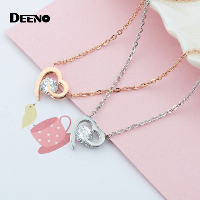 132e38eb1ce47 US $14.95 |Open Heart Choker Necklaces Ladies Jewelry Steel CZ Stone Heart  Charm Necklace for Women, Best Gifts for Girls-in Choker Necklaces from ...