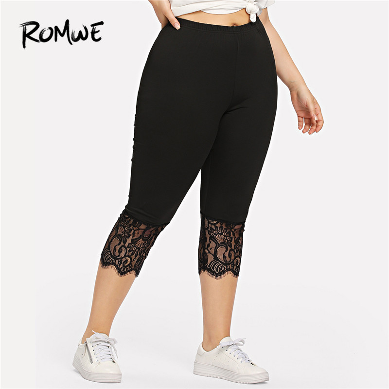 Romwe Sport Black Elastic Waist Plus Size Fitness Women Calf-Length Lace Yoga  Pants Leggings e4b615a1b1fc
