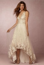 Lace Beach Wedding Dress – V Neck Off the Shoulder