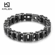 KALEN Vintage 316 Stainless Steel Bike Chain Bracelet Men's Matte Brushed 23cm Heavy Chunky Link Chain Bracelet Homme Jewelry