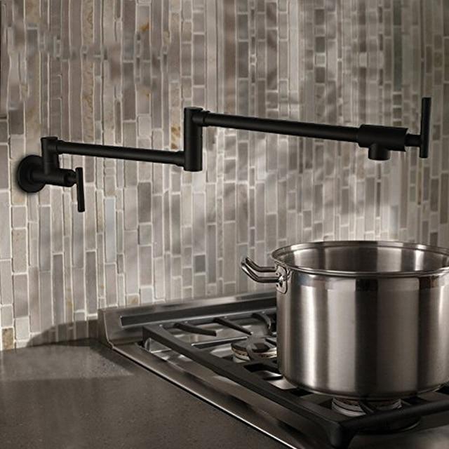 حنفيات مطبخ نحاسية سوداء من AODEYI قابلة للطي وعاء حشو 2 مقابض صنبور للطبخ على الحائط 13 012B