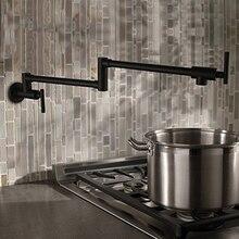 AODEYI ทองเหลืองสีดำก๊อกน้ำห้องครัวพับหม้อ Filler 2 จับติดผนังเย็น Cook Tap 13 012B