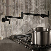 Черный Настенный Пот Наполнителя Смеситель Для Кухни Раскладной Кухонный Кран 2 Ручки Один Холодный Кухонный Кран, Brass13-012