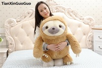 large 50cm lovely cartoon sloth plush toy light brown sloth soft doll throw pillow birthday gift s0571
