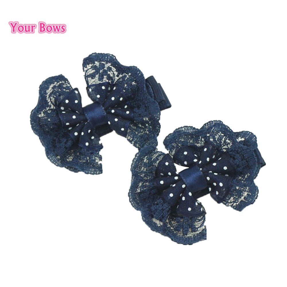 Your Bows 2Pcs 6 Colors Lace Girls Hair Bows Hair Clips Cute Flower Hairpins Fastion   Headwear   Baby Children Hair Accessories