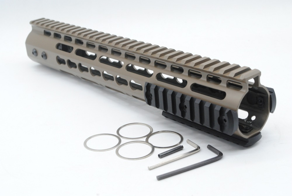 TriRock Tan / Flat Dark Earth 12'' Length NSR Key Mod Rail Mount Handguard Free Float AR-15 with Aluminum/Steel Barrel Nut olympia le tan джинсовые брюки