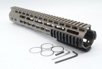 TriRock Tan / Flat Dark Earth 12'' Length NSR Key Mod Rail Mount Handguard Free Float AR-15 with Aluminum/Steel Barrel Nut