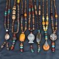 2016 Vintage Ethnic Style Fish Elephant Wood beaded Statement Necklaces Pendants Women men