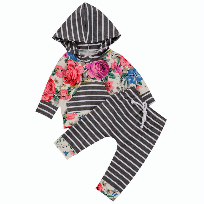 2017 Autumn Newborn Clothes Floral Long Sleeve Hooded Pocket T shirt Tops Striped Pant Legging 2PCS