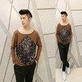 2016 nova Outono trajes cabeleireiro Único Lantejoula design t shirt homens marrom ocasional solta t-shirt camiseta masculina, camiseta tamanho M-XL