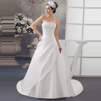 Classic Strapless Sleeveless Corset Wedding Dresses With Appliques A Line Satin Custom Made Bridal Gown