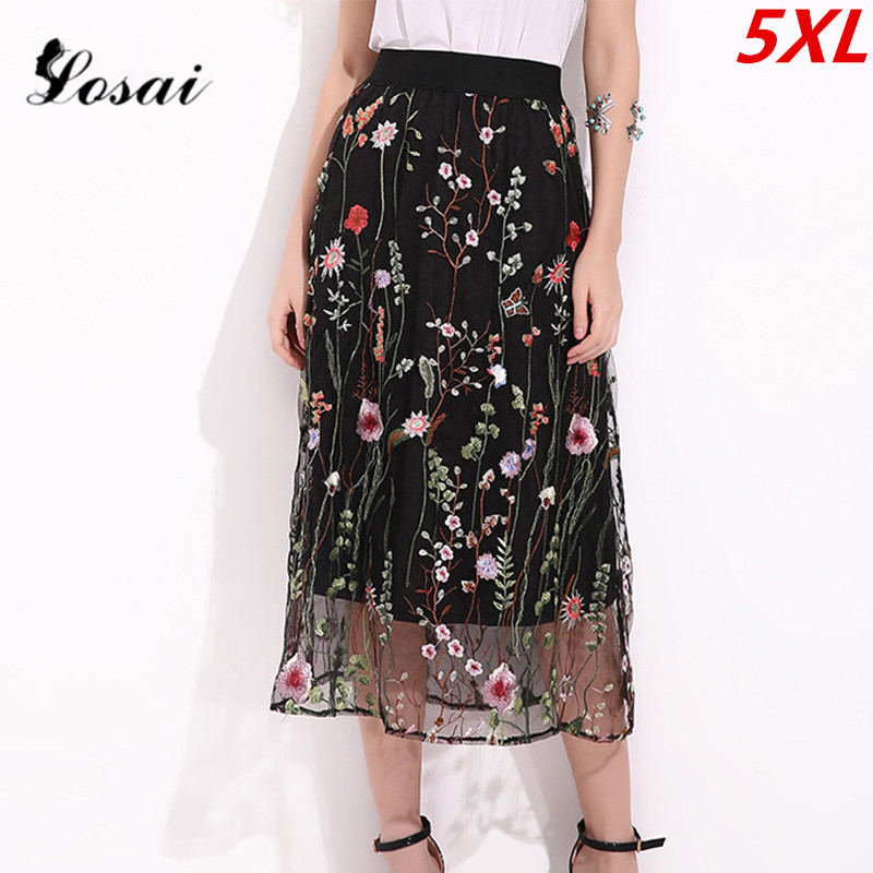 S-5XL 2018 Women Fashion Midi Mesh Tulle Skirts Womens Vintage Pleated Floral Embroidery Elegant Party Skirt Lady Plus Size