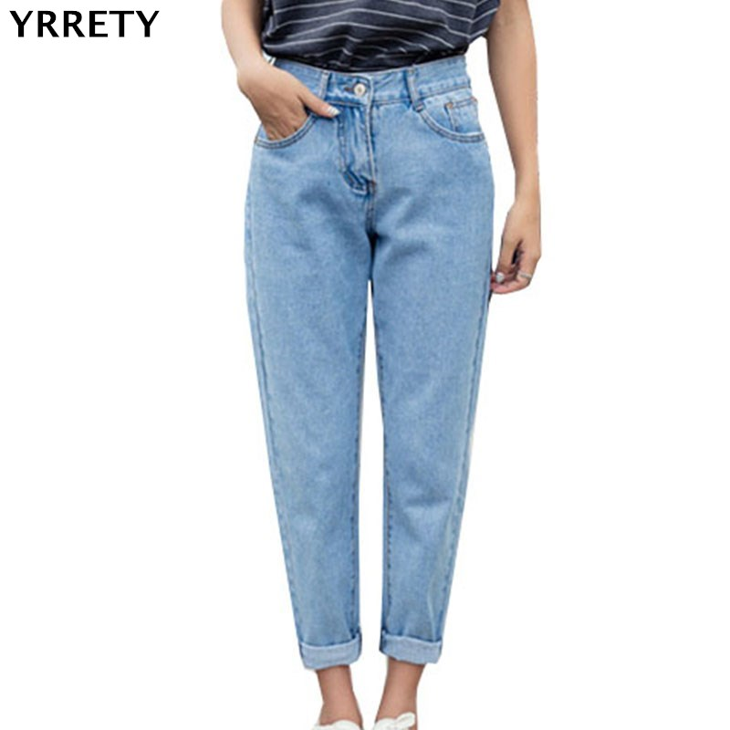 YRRETY 2020 New Slim Straight Pants Vintage High Waist Jeans New Womens Pants Full Length Jeans Loose Cowboy Pant High Quality