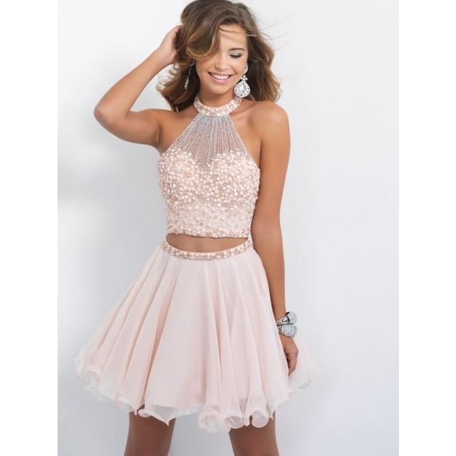 Lindo Duas Peças Vestidos Graduação frisada lindo nudez rosa vestidos homecoming curto sexy prom dress vestidos de festa