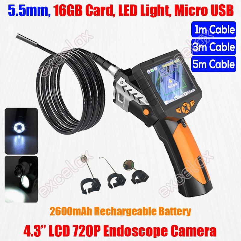 """ใหม่ 720P HD มือถือ 5.5 มม.1 M 3M Flex Endoscope กล้อง 4.3 """"LCD Monitor LED ไฟฉายงูท่อตรวจสอบท่อ Borescope-ใน กล้องวงจรปิด จาก การรักษาความปลอดภัยและการป้องกัน บน AliExpress - 11.11_สิบเอ็ด สิบเอ็ดวันคนโสด 1"""