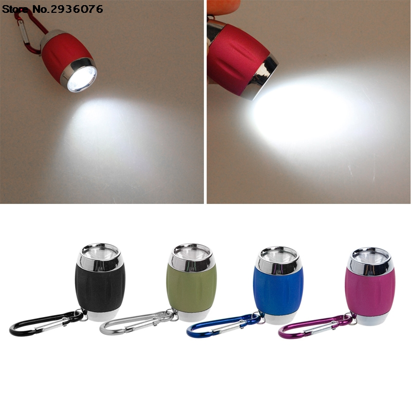 Mini COB LED Flashlight Keychain Barrel Shape Handy Light Lamp Camping Outdoor Portable