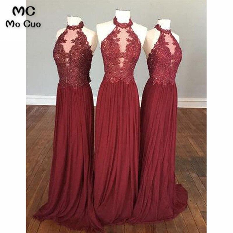 Long 2018 Burgundy Wedding Party   Dress   Halter vestido longo de festa Pleat Chiffon Draped Prom   Bridesmaid     Dresses   for women