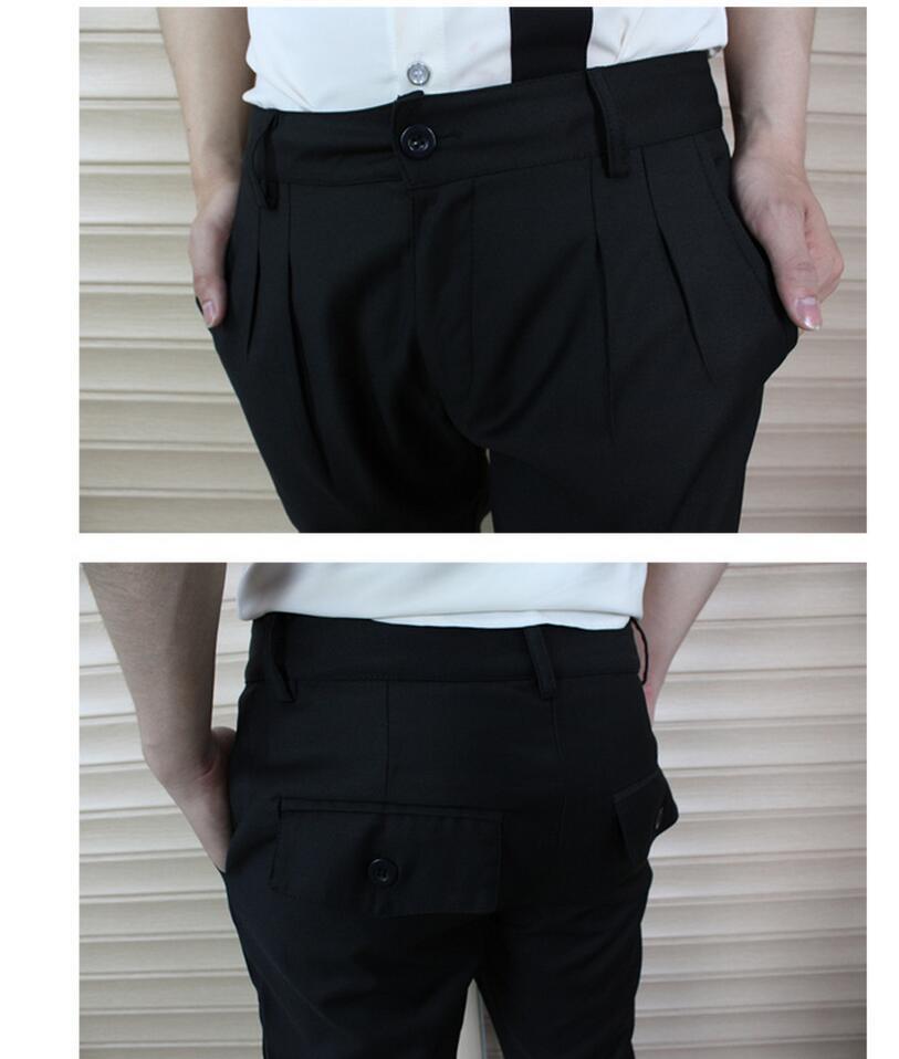Pantalones Negro Trajes Nuevos Delgado Derecho Hombres Zhi Otoño Ocasional 44 long 28 Juego Tobillo Harem Cantante De Estilo Mismo Del w6ATaqT