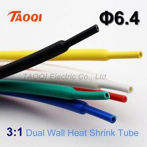 1 metro 6.4 millimetri Tubi Termorestringenti Adesivo con Colla Foderato 3:1 Ritiro A Doppia Parete Del Tubo Termoretraibile Wrap Cable Wire