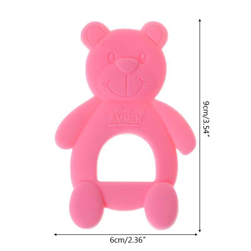 Baby Teether Bear Cute Necklace Teething Massage Pain Relief Pacifier Newborn Orthodontic Oral Care Infants Food Grade Silicone