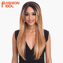 FASHION IDOL 24 inch Straight Lace Front Wigs Synthetic Hair Brown Wine Red Hair High Temperature Synthetic Wigs For Black Women
