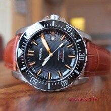 Parnis 43mm black dial ceramic bezel Sapphire glass miyota movement waterproof 200m automatic mechanical mens dive watch