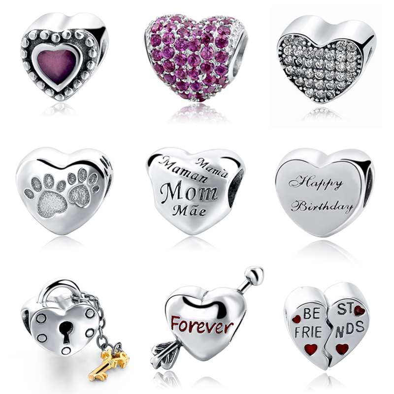 New Style Love Heart Sterling Silver Beads Fit Authentic Pandora Charms Bracelet Silver 925 Original Women Jewelry Berloques