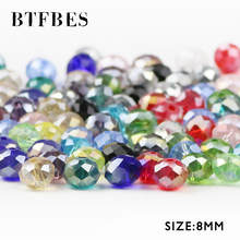BTFBES Austrian Crystals 8mm 50pcs Faceted Flat Round glass Ball Loose Beads For Jewelry Bracelet earring Making Accessories DIY