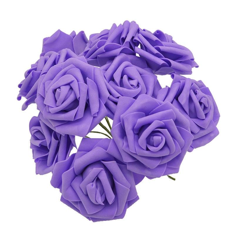 10 шт. 8 см большие ПЭ пенные цветы искусственные розы цветы Свадебные букеты Свадебные украшения для вечеринки DIY Скрапбукинг Ремесло поддельные цветы - Цвет: purple no leaf