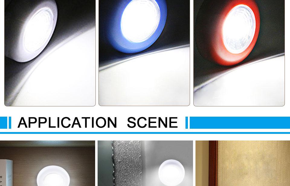 LED Novelty Lighting Wall Light Night Lights COB LED Stick Sticker Tap Touch Cabinet Wardrobe Corridor 3x AAA Batteries (10)