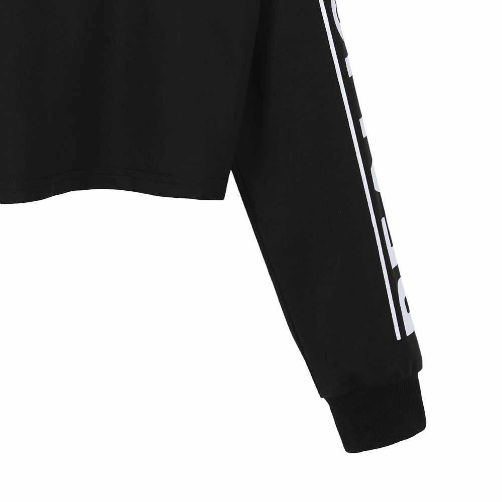 Vrouwen Mode Witte Brief Bijsnijdmarkeringen Sweatshirt Top Blouse sport stijl cool meisje moet hebben sudaderas cortas mujer