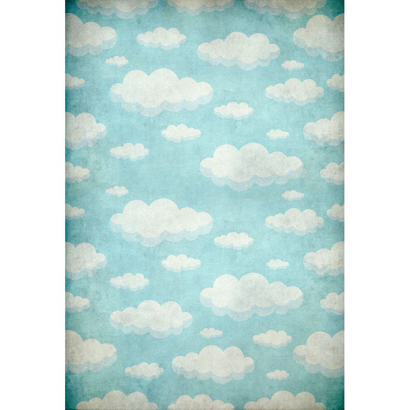 Vinyl Photography Background Blue Green Sky White Clouds Computed Printed Children Backdrops for Photo Studio F-3079