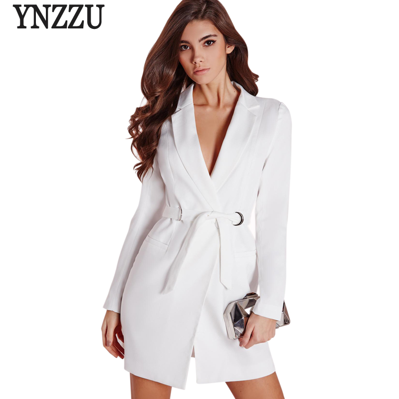 2017 new arrivals chic women blazers white elegant outwears coat notched casual belt women. Black Bedroom Furniture Sets. Home Design Ideas