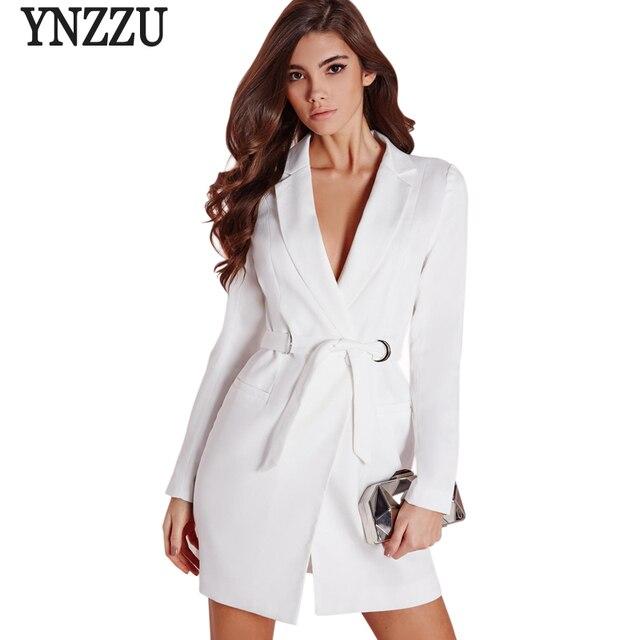 fb83434b86dc 2017 Nouveautés Chic Femmes Blazers Blanc Élégant Outwears Manteau Cranté  Décontracté Ceinture Femmes Blazer et Vestes
