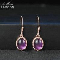LAMOON Viola Ametista Orecchini di Fascino Per Le Donne 925 Sterlina Fine Jewelry 18 K Oro Rosa Placcato Gli Orecchini di Goccia S925 LMEI036