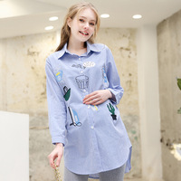 2019 New Long sleeved Breastfeeding Embroidered Stripe Shirt Maternity Clothes Pregnancy Shirt Plus Size Women Clothing
