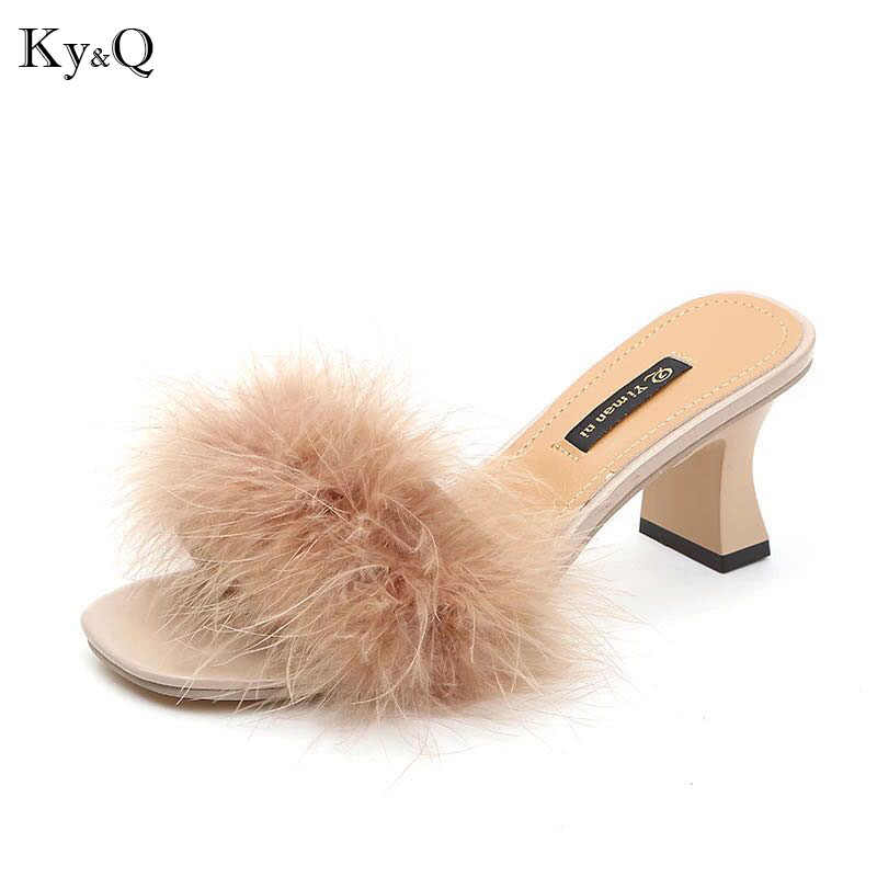 d83265f4614774 NEW Fur Furry Ostrich Feather Thick Heels Slippers Slides Fashion Ladies  Shoes Flip Flops Sandals Sexy