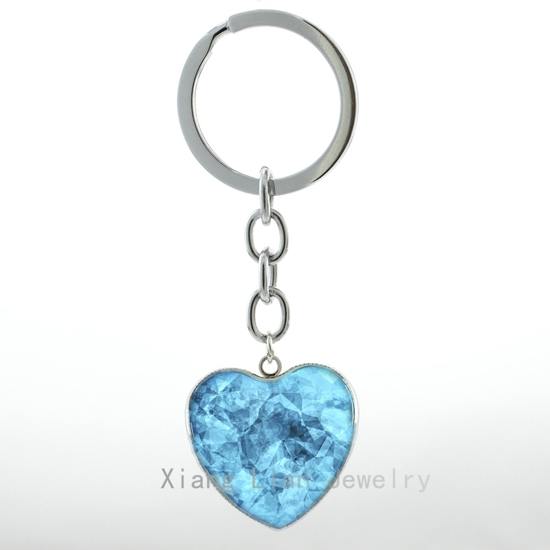 Cool Blue Crystal Art Pture Glass Metal Heart Pendant Keychain Breaking Bad Inspired Blue Meth Women Key Chain Ring H06 H72