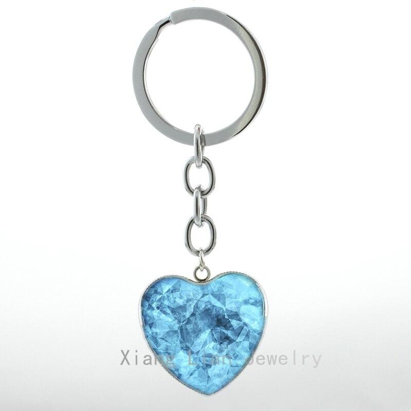 Cool Blue Crystal Art Pture Glass Metal Heart Pendant Keychain Breaking Bad Inspired Blue Meth Women Key Chain Ring H06 H72
